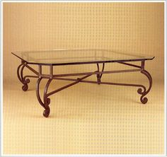 """9056  FORGED IRON TABLE SHOWN WITH OPTIONAL FLOATING BEVELED GLASS TOP FINISH SHOWN: PUEBLO BASE DIMENSIONS SHOWN W 37"""" L 37"""" HT 17"""""""
