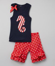 Another great find on #zulily! Navy Seahorse Tank & Red Ruffle Shorts - Infant, Toddler & Girls #zulilyfinds