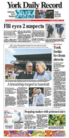 York Daily Record front page for Friday, April 19, 2013