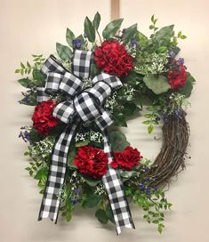 Your place to buy and sell all things handmade Summer Door Wreaths, Wreaths For Front Door, Christmas Wreaths, Winter Wreaths, Front Porch, Purple Wildflowers, Nautical Christmas, Red Geraniums, Year Round Wreath