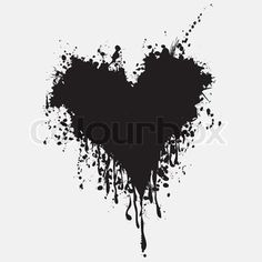 Vector of Graphic grunge heart, ink splatter vector. Paint splat. Love splash splatter illustration. Drip, spray, monochrome tattoo.