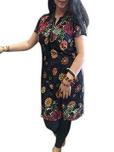 Indian Kurta Black Tunic Floral Printed Cotton Long Dress Kurti Small Mogul Interior http://www.amazon.com/dp/B00VNPN940/ref=cm_sw_r_pi_dp_Z-T.vb0N4DCH6