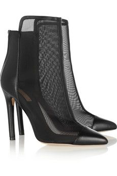 Leather and mesh ankle boots
