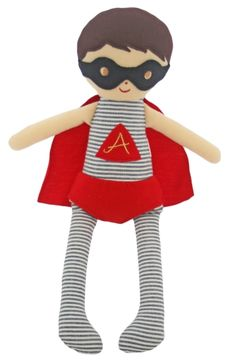 'To the rescue!' This adorable Super Hero doll by Alimrose looks so cool in his flowing red cape and mask!
