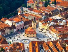 Aerial view of the Old Town Brasov Transylvania Romania by dziewul Beautiful Places To Visit, Cool Places To Visit, Top 15, Transylvania Romania, Natural Swimming Pools, Tromso, Winter Destinations, Places In Europe, City Break