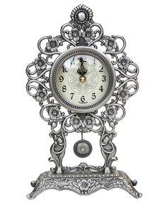 """11.8"""" Antique Style Pendulum Table Clock, Desk Clock Home Decoration / Tin #AntiqueStyle Home Decoration, Desk Clock, Tin, Antiques, Table, Gifts, Clock Table, Antiquities, Antique"""