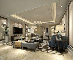 3d Living Room, Living Room Modern, Living Area, Classic Interior, Luxury Interior Design, Interior Decorating, Living Room Restaurant, Plafond Design, Floor Decor