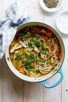 Easy chicken noodle soup Using leftover or rotisserie chicken makes this chicken noodle soup super easy and perfect for days when you need home-made comfort in a bowl. Yummy Pasta Recipes, Easy Chicken Recipes, Lunch Recipes, Easy Dinner Recipes, Soup Recipes, Healthy Recipes, Recipe Chicken, Chili Recipes, Fat Burning Soup