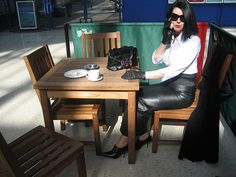 At the Station in Hobble Skirt and Buckle Monk Shoes photo by RoSa Shoes