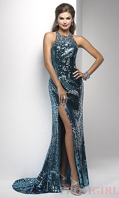 Full Length Sequin Halter Gown at PromGirl.com