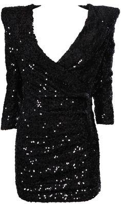 Black Sparkly Dress -  power shoulder