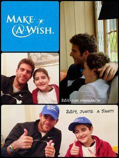 Juan Martín se sumó una vez más a Make-A-Wish Argentina para cumplirle el sueño a Santi, de 13 años, que quería conocerlo!!