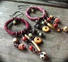 Hoop earrings,  silk wrapped with etched bone, gold coral and bead dangles-rustic tribal