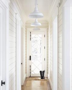 Glass door plank walls lights
