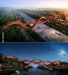 Pedestrian bridge to be built over the Dragon King Harbor River in Changsha, China