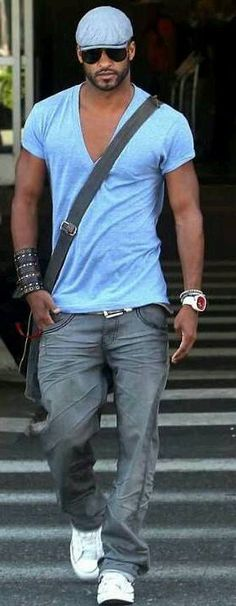 Men's #casual outfit in blue. #streetstyle #men #fashion