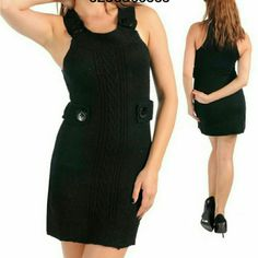 """Sweater dress tunic mini sexy Black trendy NWT 'A LIGHTWEIGHT KNIT SWEATER MINI DRESS NWT BY GRIFFLIN PARIS . -IT HAS BUTTON ACCENT,RACER BACK style,SCOOP NECKLINK. Versatile use it as a CAREER,CAUSAL, FALL/SPRING dress or club wear/evening dress by just adding some jewlery and heels.  TOTAL LENGTH =35"""" Sweaters"""