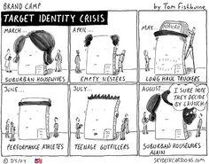 target identity crisis | Tom Fishburne: Marketoonist Marketing Presentation, Presentation Design, A Funny, Funny Memes, Customer Service Experience, Brand Building, Content Marketing, Identity, Toms