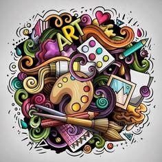 Cute Doodle Art, Doodle Art Designs, Doodle Art Drawing, Art Drawings Sketches, Doodling Art, Doodle Art Letters, Design Art Drawing, Graffiti Doodles, Graffiti Art