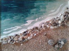 Купить или заказать Морское панно «Ракушечный берег» в интернет-магазине на Ярмарке Мастеров. Панно выполнено витражными красками с применением настоящих черноморских ракушек. Может стать украшением интерьера в морском стиле или просто радовать любителей моря, хороший подарок.