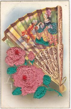 Embroidered fan postcard