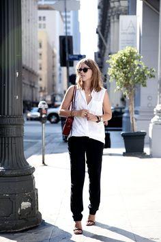 H & M shirt, Isabel Marant pants, Celine sandals and bag, Oliver Peoples sunnies