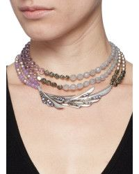Miriam haskell Mix Pearl Bead Wing Pendant Necklace in Silver (Multi-colour) | Lyst