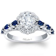 Barkev's 14K White Gold Blue Sapphire and Diamond Halo Engagement Ring. Style 7983LBSW