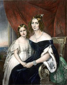 Josephine's granddaughter  EMPRESS AMÉLIE OF BRAZIL with her only child , Princess Maria Amélia, 1840.