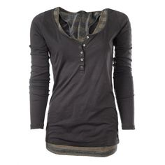 Maison Scotch Womens Grey Double Layer Long Sleeve Top (130 BRL) ❤ liked on Polyvore featuring tops, shirts, long sleeves, blusas, gray shirt, long sleeve cotton shirts, gray long sleeve shirt, long-sleeve shirt and shirt top