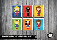 INSTANT DOWNLOAD - DIGITAL FILES - PRINT IT YOURSELF - 6 DESIGNS * NO PHYSICAL ITEM WILL BE SHIPPED !*  Brighten up your childs room with this set of 6 super cute Superhero- themed art prints. These prints would also make a lovely gift!  ♥♥♥ WHAT YOU WILL RECEIVE ♥♥♥ You will receive 1 PDF file and 6 high resolution (300dpi), print-ready JPG files in a compressed ZIP folder - each file measures 8x10 (approx. 20x25cm).  ♥♥♥ INSTANT DOWNLOAD ♥♥♥ INSTANT DOWNLOAD means that the files will be…