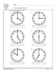 Telling-Time-To-The--Hour. Telling time to the hour worksheets, grade 1 math worksheets, tellingtime worksheets 1st Grade Math Worksheets, Science Worksheets, First Grade Math, Printable Worksheets, Math Activities, Educational Activities, Kindergarten Math, Teaching Math, Teaching Ideas