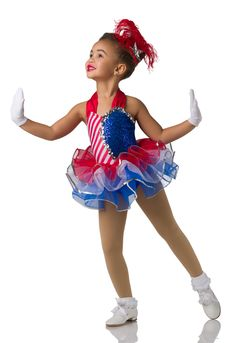Lined leotard with attached tutu: red and white striped spandex, royal sequin spandex, royal spandex, and red, white, and blue tricot. Trim: silver sequin braid, silver sequins, and adjustable straps. Feather plume included. For short white gloves order # 98-60  #dancecostumes #firstrecital #costumegallery #dancecompetition #ballerina #babyballerina #tutu #tots Jazz Costumes, Ballet Costumes, Yankee Doodle Dandy, Baby Ballerina, Circus Costume, Jazz Shoes, Dance Tights, Tiny Dancer, Red And White Stripes