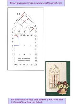 ED110 Christmas churchwindow  on Craftsuprint designed by Emy van Schaik - Stitching with beads - Now available for download!