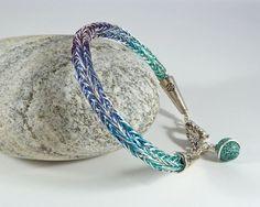 Silver Purple and Blue Viking Weave Bracelet by BeauBellaJewellery