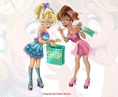 Shopping Girls Excitement by Malane Newman