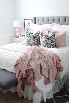 pink and grey bedding rachel puccetti. I am so excited to finally share my room reveal with you all! It has been one of my most requested posts! I hope this gives you a little room inspiration! Pink And Grey Bedding, Pink And Grey Room, Blush Pink Comforter, Pink White, Neutral Bedding, Pink Sofa, Black White, Room Ideas Bedroom, Bed Room