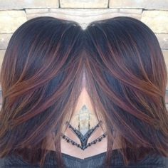 Amber/copper/red/auburn ombré weave with balayage on black hair by amber