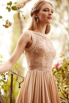 bhldn spring 2015 bridal bateau neckline almond color embroidered bodice vintage short wedding dress alma