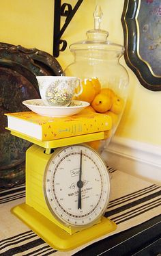 yellow - I still HAPPILY remember the joyous feeling I got way back in the late 70's of entering an apartment that was for rent that had sunny yellow countertops.  An AMAZING happy space.  Have always loved a yellow kitchy!