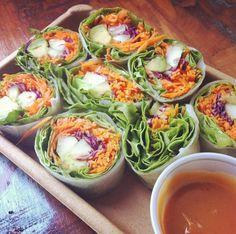 Bikini Rolls from Whole Foods!  Avocado, carrots, cucumber, cabbage & peanut sauce :)