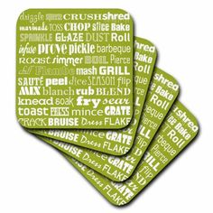 3dRose Cookery Terminology Typography in white on sage green, Soft Coasters, set of 8