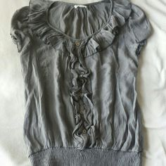 Grey Professional Blouse Worn once...just wasn't my style. Perfect condition. Light weight material. Mine Tops Blouses