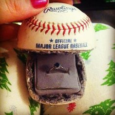 Baseball Proposal(idea just in case I want to do it again) Baseball Proposal, Baseball Couples, Baseball Stuff, Baseball Ring, Baseball Jewelry, Baseball Girlfriend, Baseball Field, Baseball Crafts, Baseball Mom