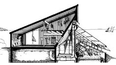 The Ark: Section-perspective of barn, rock heat storage & greenhouse - The PEI Ark Catalogue Underground Greenhouse, Home Greenhouse, Underground Homes, Greenhouse Gardening, Earthship Home, Earthship Design, Earth Bag Homes, Solar House, Sustainable Architecture