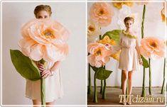 Гигантские бумажные цветы своими руками + Фото » Дизайн & Декор своими руками