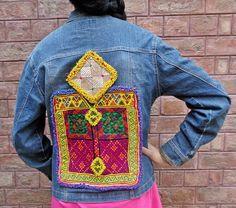 Vintage Kuchi Afghan Ethnic Hippie Medallions Jeans Jacket Sapa Stretch Chic M