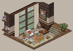 Isometric Art, Isometric Design, Habbo Hotel, Modern Apartment Design, Art Inspo, Pixel Art, Game Art, Interior And Exterior, Chibi
