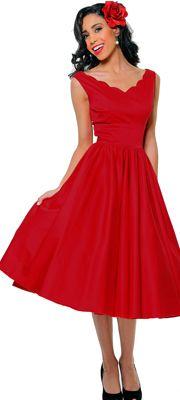 QUEEN OF HEARTZ 1950's Style Red Cotton Sateen Scallop Brenda Swing Dress