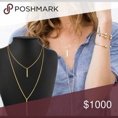 Layered Necklace Double layered necklace. Gold tone. Statement necklace.                     Tags: three layered Jewelry Necklaces